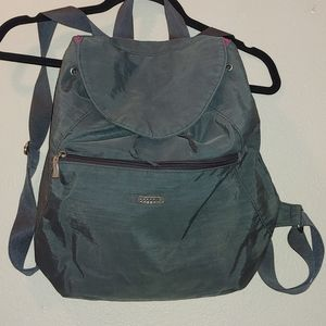 Baggallini Cinch Backpack Grey Pink Nylon Travel